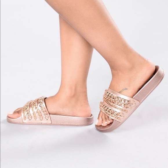 4893359a125 Fashion Nova rose gold slides